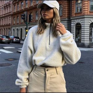 Crop top long sleeve lambswool sweater